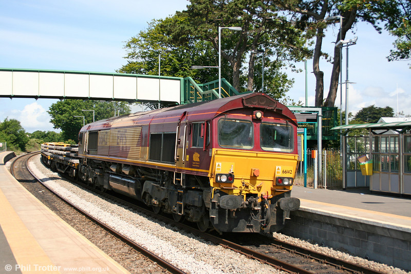 66142 passes through Llantwit Major with 6W01, 0930 Pencoed to Westbury Yard on 27th June 2010.