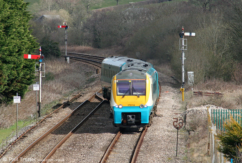 Having terminated at Ferryside, 175114 crosses from the down to the up line ready to return towards Swansea on 4th April 2010.
