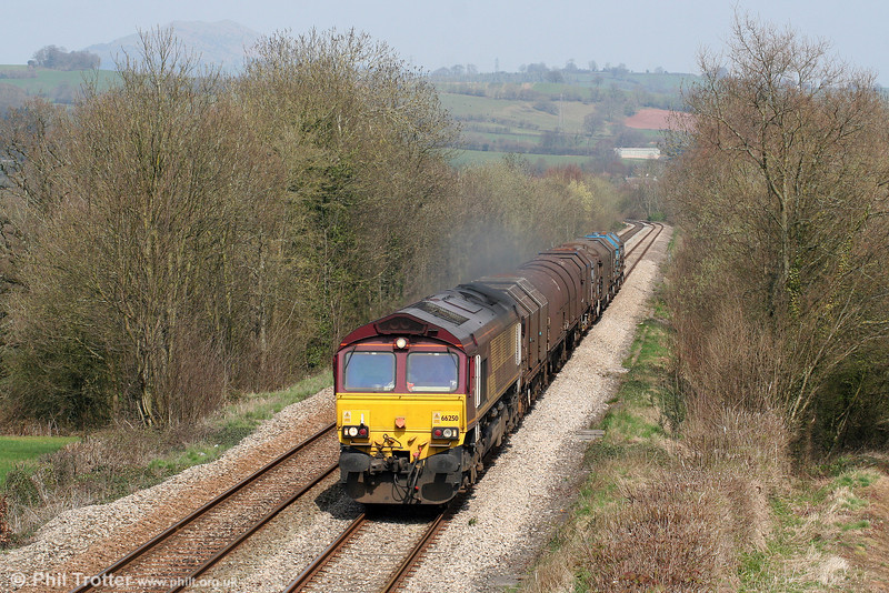 On the warmest day of the year so far, 66250 passes Llanover with 6V75, 0930 Dee Marsh to Margam on 10th April 2010.