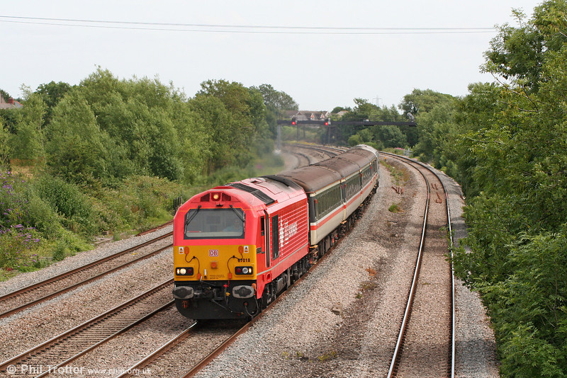 67018 'Keith Heller' heads through Magor with 2U14, 1102 Taunton to Cardiff Central on 8th July 2010.