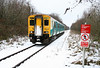150282 complete with a 6G (Llandudno Junction) shed code approaches a wintry Pontarddulais forming the 0905 Shrewsbury to Swansea on 6th January 2010.