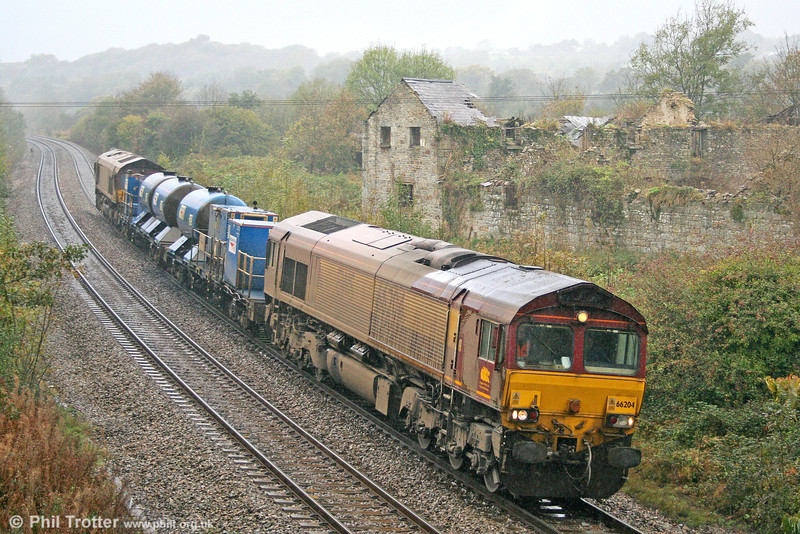 In a seasonal downpour, 66204 passes Llangewydd with West Wales RHTT 3S61 on 22nd October 2010. 66120 was at the rear.