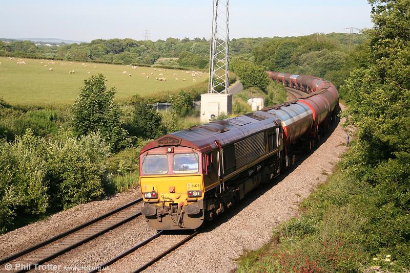 66125 heads 6B33, 1335 Theale to Robeston past Llangewydd on 22nd June 2010.