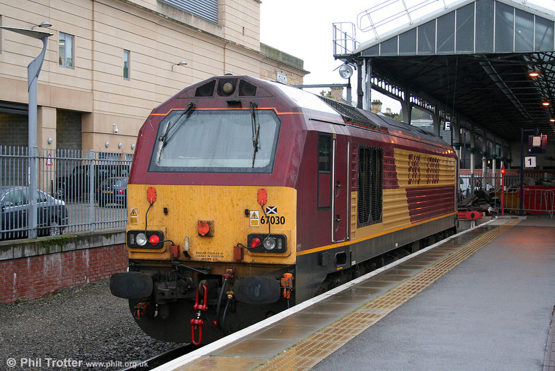 Last of the class, 67030 stands at Inverness on 15th October 2010.