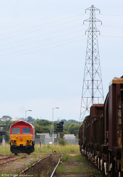 The latest class 59 to work from Margam is DB red 59206 'John F Yeoman - Rail Pioneer', seen through the heat haze after arrival at the Knuckle Yard from Westbury on 24th July 2010.