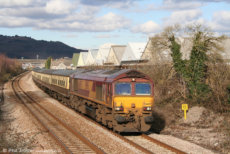 66097 heads through Melincryddan with 5Z88, 1505 Swansea to Margam ECS in connection with 'The St. David's Day Cathedrals Express' on 1st March 2010.
