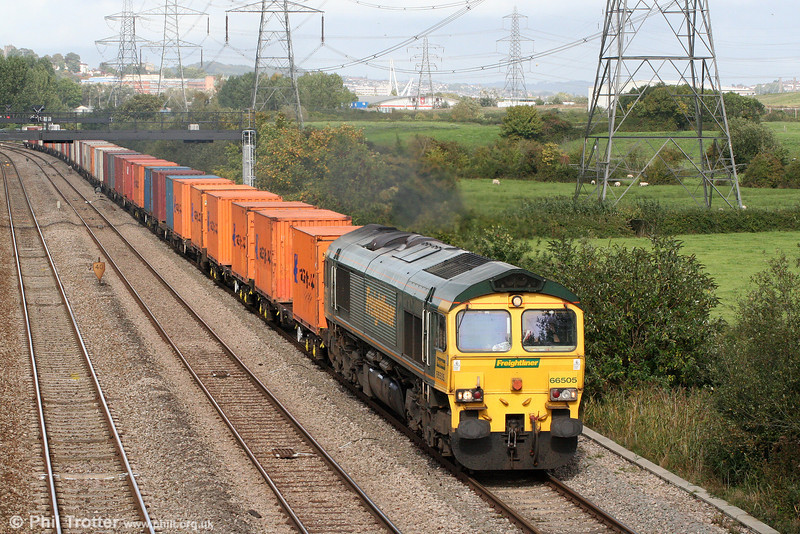 66505 passes Duffryn with 4V46, 1108 Crewe Basford Hall to Wentloog on 2nd October 2010.