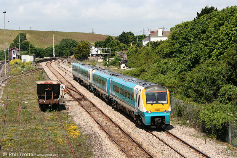 With the main line via Pontyclun and the North & West route between Newport and Hereford both closed for engineering work, 175009 leads 175005 through Aberthaw forming the 0930 Milford Haven to Newport on 13th June 2010.