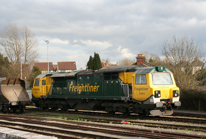 The new class 70s seem to spend a disproportionate amount of time sitting around awaiting attention. This is 70003 at Stoke Gifford on 6th April 2010.