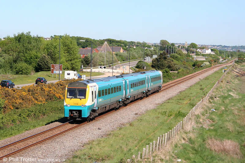 175108 passes Loughor forming a Hereford to Milford Haven service on 23rd May 2010.