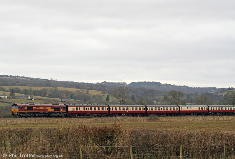 66079 'James Nightall GC' passes Manordeilo with UK Railtours 1Z39, 0738 London Paddington to Llandrindod Wells, 'The Heart of Wales' on 13th March 2010.