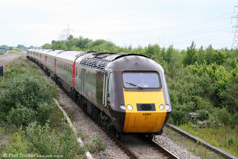 43301 unusually on the relief line at Severn Tunnel Junction heading 1V44, 0600 Leeds to Exeter St. Davids on 31st May 2010.