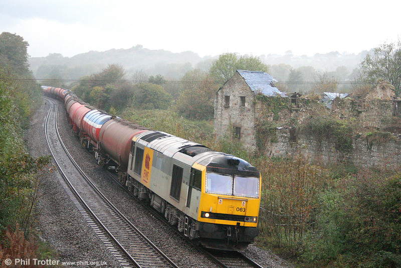 60063 'James Murray' (one nameplate only) passes a very wet Llangewydd with 6B13, 0504 Robeston to Westerleigh on 22nd October 2010.