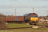 66118 winds its way out of Barry Docks with 6O96, 1515 Barry Docks to Swansea Burrows Sidings on 30th January 2010.