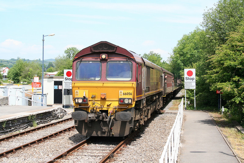 66056 arrives at sunny Llandeilo with Compass Tours 1Z59, 0610 Holyhead to Carmarthen, 'The Heart of Wales Scenic Rambler' on 5th June 2010.