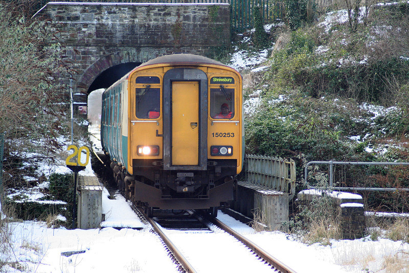 150253 emerges from Pontarddulais Tunnel forming the 1315 Swansea to Shrewsbury on 6th January 2010. The tunnel was built by the Llanelly Railway & Dock Co. in 1839.