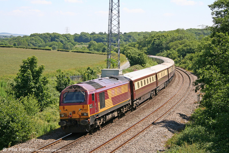 67002 'Special Delivery' passes Llangewydd at the rear of 1Z25, 1155 Neath - Vale of Glamorgan - Gloucester - Neath circular Northern Belle 'Spirit of Travel' dining special on 26th June 2010.