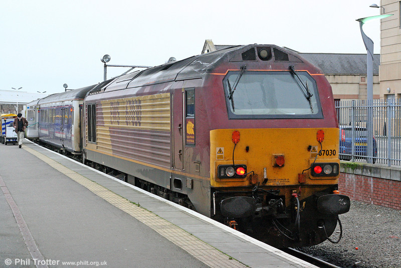 The morning after: 67030 stands at Inverness with its portion of the previous night's Caledonian Sleeper on 12th October 2010.