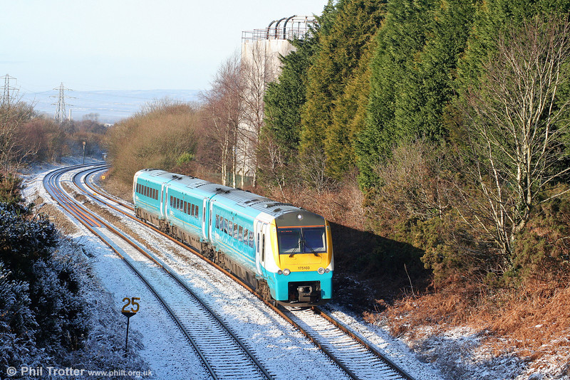 175103 climbs towards Cockett forming the 1101 Carmarthen to Manchester Piccadilly on 2nd January 2010.