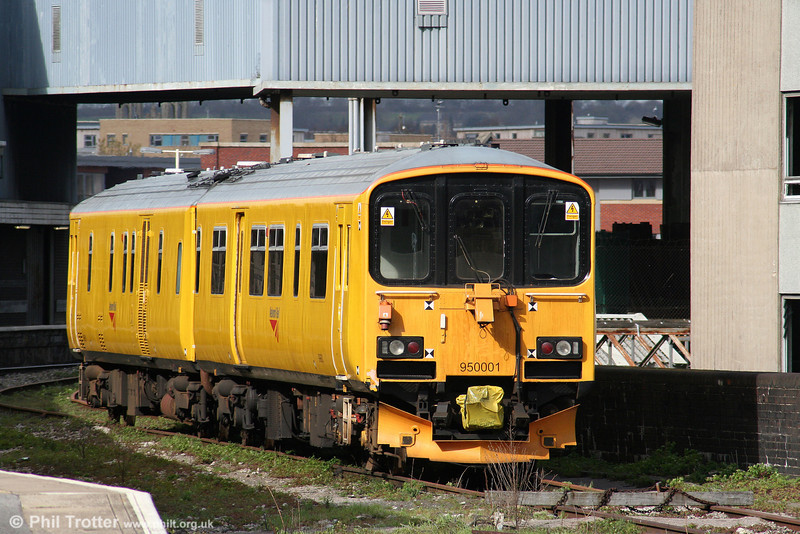 NR Track Assessment Unit 950001 stabled at Bristol Temple Meads on 5th April 2010. The unit was due to survey lines in the Cardiff Valleys and Bristol area during the coming week.