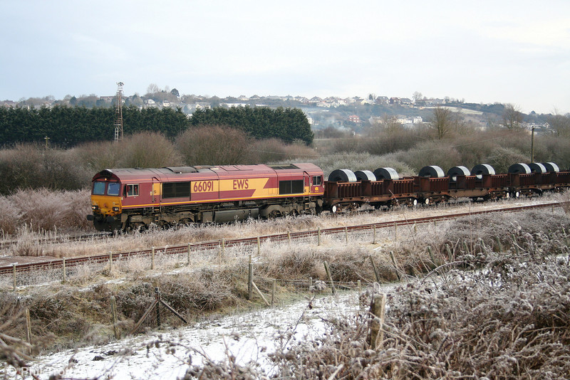 66091 arrives at a frosty Trostre with 6B11, 0815 from Margam on 31st January 2010.