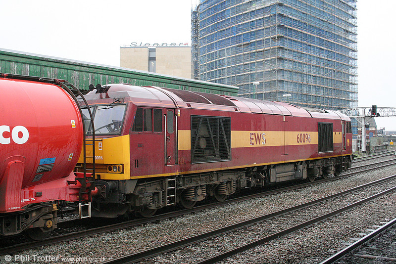 60096 waits for the road at Cardiff Central with 6B13, 0505 Robeston to Westerleigh on 23rd February 2011.