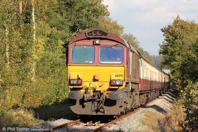 66091 at Cemetery Crossing, Resolven bringing up the rear of UK Railtours 1Z66, 1342 Onllwyn to London Paddington via Cwmgwrach and Llanelli, 'The Valley of the Witch' on 22nd October 2011.