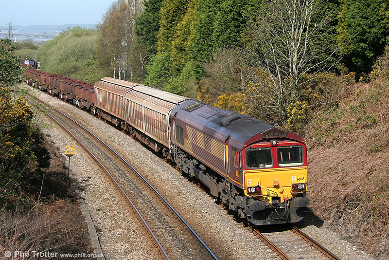 66185 climbs Cockett Bank with 6B61, 1130 Trostre to Margam on 10th April 2011. 60096 was at the rear.