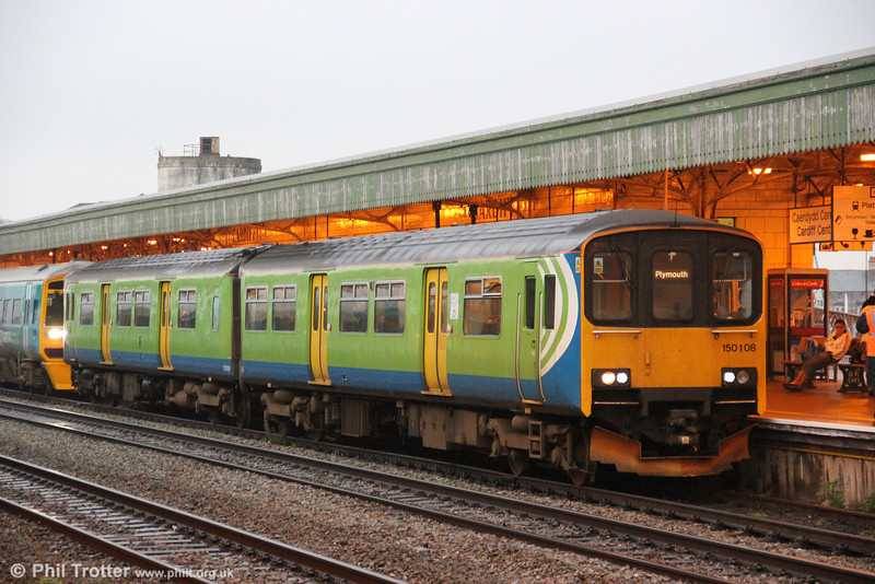 Former London Midland 150108, ready to leave Cardiff Central forming FGW's 0900 service to Plymouth on 9th November 2011.