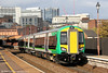 A high proportion of London Midland's new Class 172 Turbostar units now are in service, replacing its class 150s which will move on to other operators. The fleet comprises twelve class 172/2 2-car units and fifteen class 172/3 3-car trains. In 'straight out of the box' condition, 172218 departs from Birmingham Moor Street forming the 1056 Kidderminster to Dorridge on 29th October 2011.