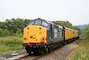 On the section of line which is due to be re-doubled in 2012/13, DRS 37601 'Class 37 - Fifty' approaches Gowerton with test train 2Q88, 0535 Derby RTC to Swansea via Gowerton on 27th June 2011. 37038 was at the rear.