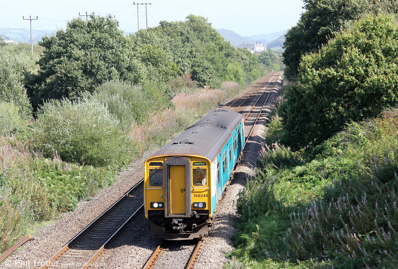 150245 passes Llanllwch forming the 1125 Cardiff Central to Fishguard Harbour on 11th September 2011.