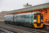 Reliveried 158821 at Cardiff Central forming the 0800 Maesteg to Cheltenham Spa on 9th November 2011.