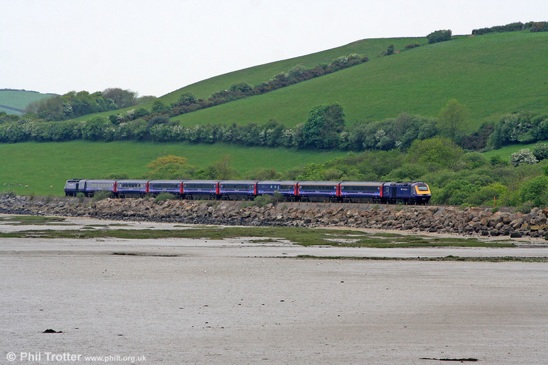 FGW's 1137 London Paddington to Carmarthen is seen alongside the Tywi Estuary near Ferryside on 1st May 2011.