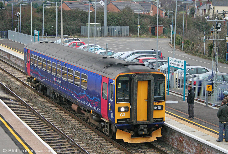 FGW's 153373 calls at Severn Tunnel Junction with the 1000 Cardiff Central to Taunton on 29th January 2011.