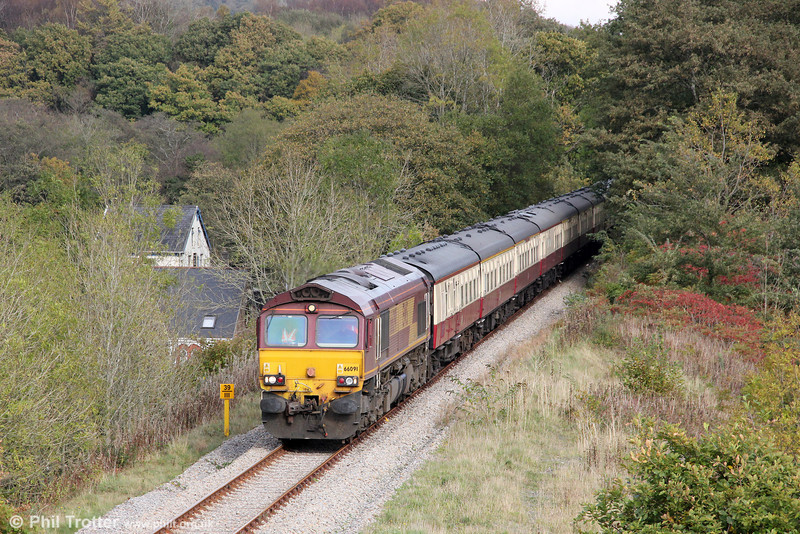 66091 at Aberdulais with UK Railtours 1Z66, 1342 Onllwyn to London Paddington via Cwmgwrach and Llanelli, 'The Valley of the Witch' on 22nd October 2011.