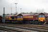 66109 and 59203 'Vale of Pickering' seen stabled at Acton Yard on 12th November 2011.