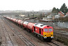 Newly repainted in DB red, 60011 passes Severn Tunnel Junction with 6B13, 0505 Robeston to Westerleigh on 15th January 2011.