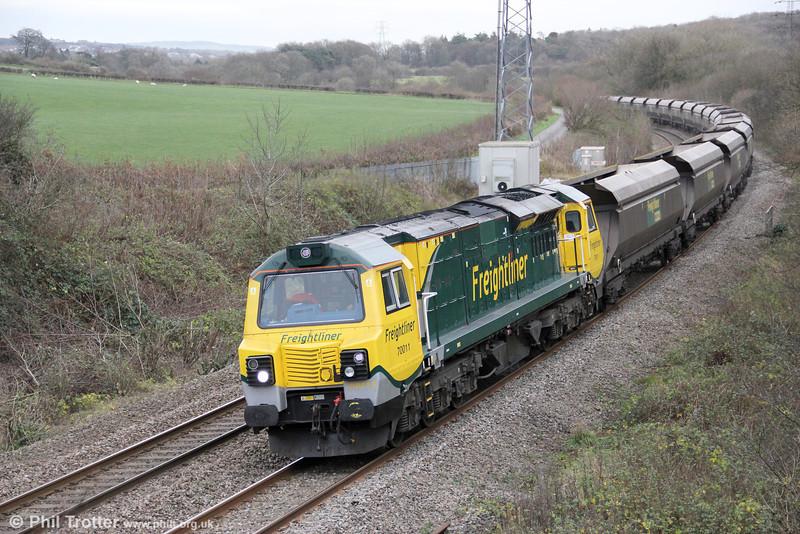 70011 passes Llangewydd with 6Z97, 0911 Pengam to Margam (Grange) on 4th December 2011.