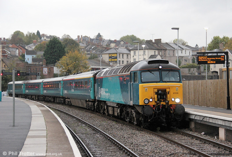 57315 calls at Newport with 1W91, 1615 Cardiff Central to Holyhead on 24th October 2011.