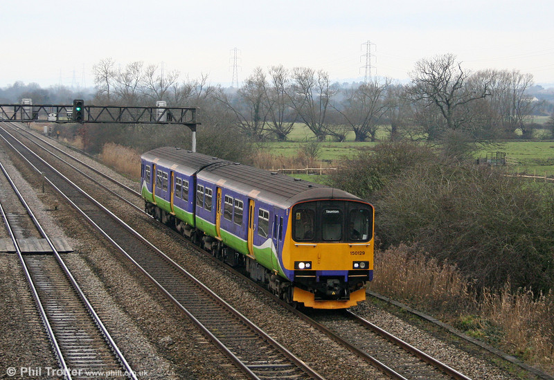 Former LO 150129 passes Coedkernew forming FGW's midday service from Cardiff Central to Taunton on 22nd January 2011.