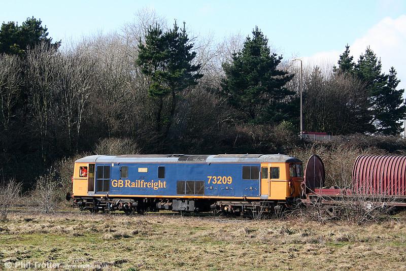 GBRf 73209 'Alison' shunts its empty MBAs towards Cardiff Tidal Sidings on 11th February 2011.