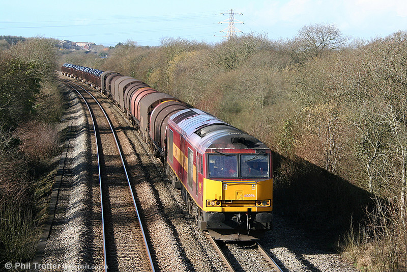 60096 climbs towards Stormy Summit with 6B03, 0910 Trostre to Llanwern on 12th February 2011.