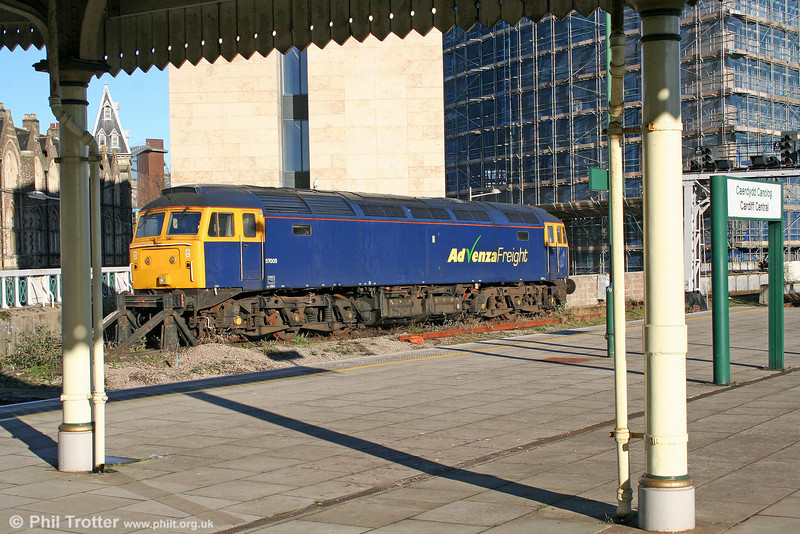 How much longer? 57005 has been sitting at Cardiff Central since Advenza folded in October 2009. 20th January 2011. (Postscript: The loco has since been acquired by West Coast Railways and was removed on 31st January).