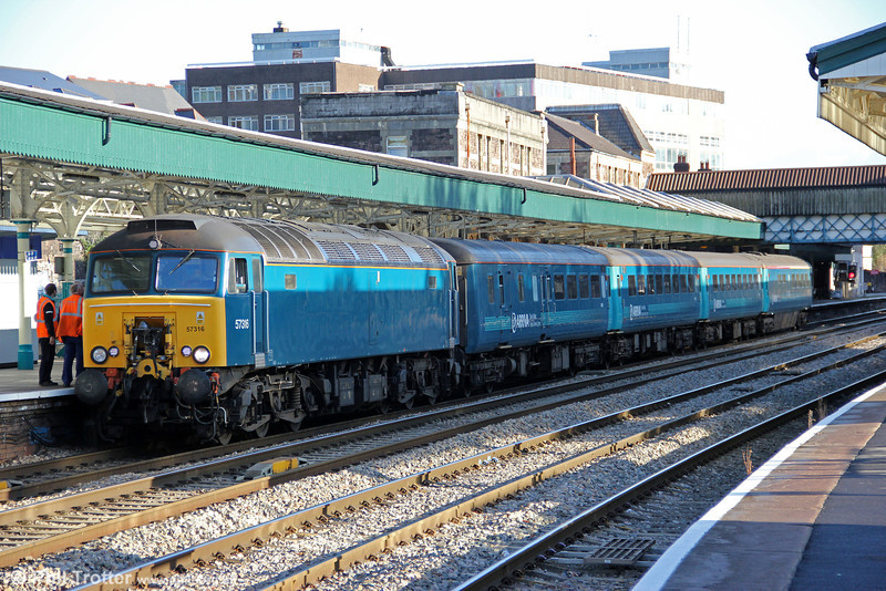 57316 calls at Newport with 1V31, 0532 Holyhead to Cardiff Central on 18th October 2011.