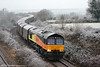 Colas 66844 adds colour to a wintry Llandevenny with 6O55, 1348 Llanwern to Dollands Moor on 3rd January 2011.