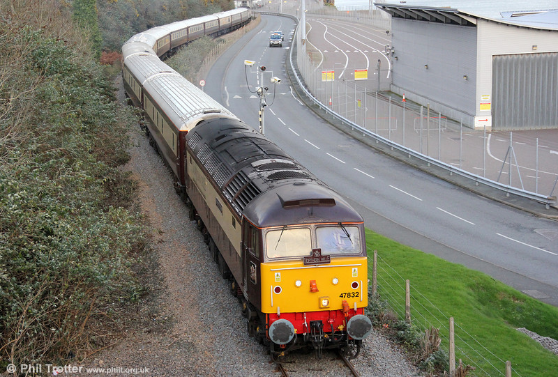 DRS 47832 'Solway Princess' departs from Fishguard Harbour with 1Z23, 1500 Fishguard Harbour to Cardiff Central Northern Belle on 7th December 2011. 47790 'Galloway Princess' was at the rear.