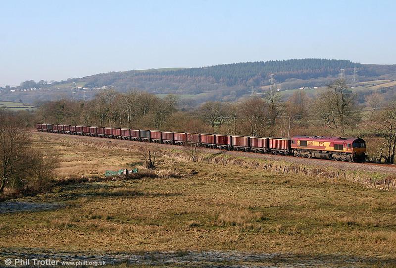 66148 heads 6G05, 0920 Swansea Burrows to Gwaun-cae-Gurwen away from Glanffrwd on 4th March 2011.