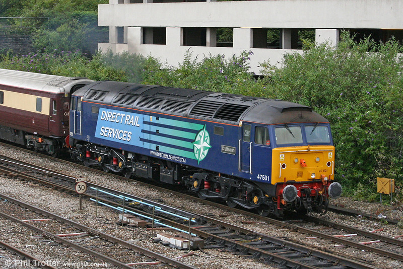 DRS 47501 'Craftsman' in close up as it leaves Cardiff with 1Z71, 1115 Cardiff Central to Eastleigh Northern Belle on 25th June 2011.