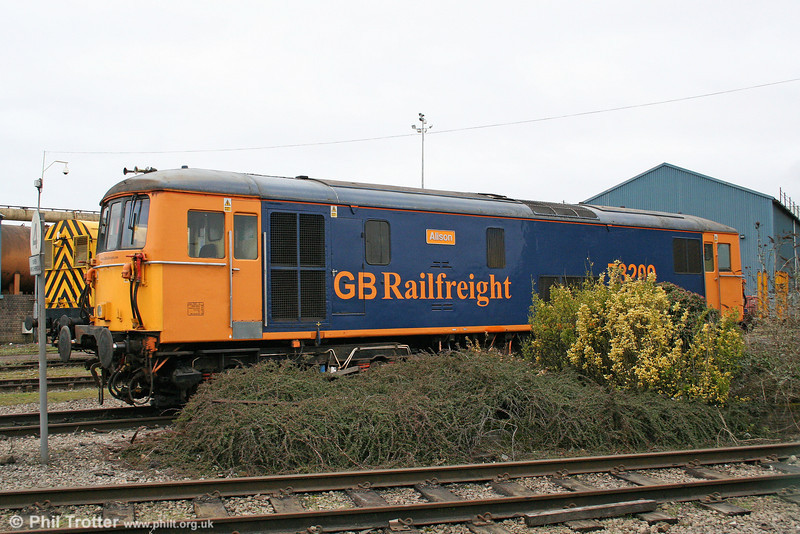 A second view of GBRf 73209 'Alison' at Celsa, Tremorfa on 5th February 2011. Built as no. E6026 (later 73120), the loco at one time saw use on 'Gatwick Express' services.
